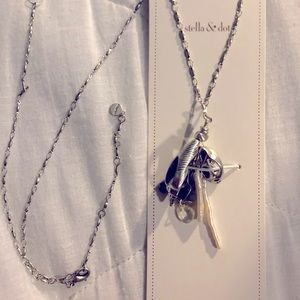 New Stella & Dot Kala Long Necklace Silver Color